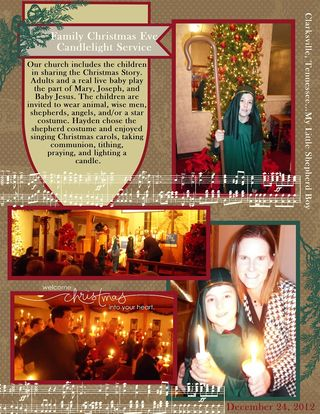 Christmas Eve Service Scrapbook Page