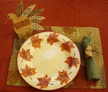 Thanksgiving Trivia Place Card & Napkin Ring